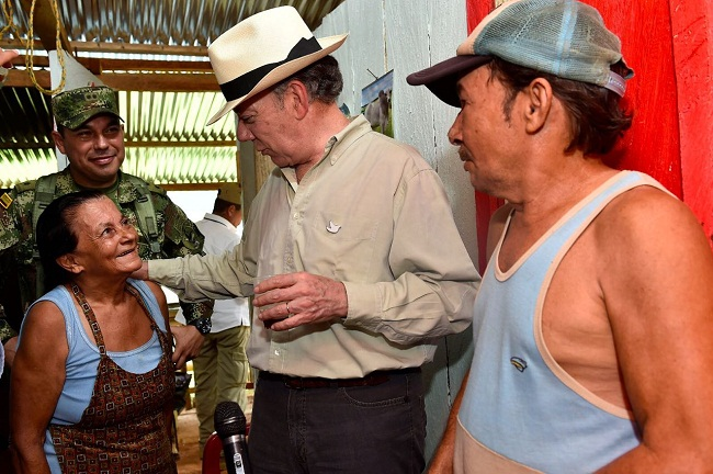 Presidente Juan Manuel Santos visitó la vereda Siberia en Pto. Valdivia.