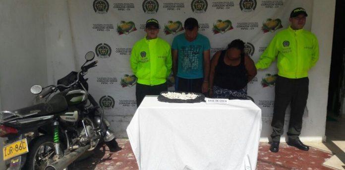 En Montelíbano, Córdoba, una pareja fue captura por presuntamente transportar base de coca