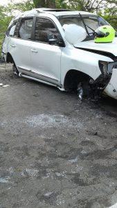 Así quedó el vehículo de Martín Elías / Fotos de @Nestorvilla18